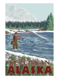Fly Fisherman, Ketchikan, Alaska Posters