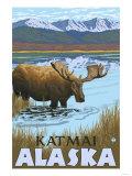 Moose Drinking at Lake, Katmai, Alaska Print by  Lantern Press