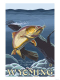 Trout Fishing Cross-Section, Wyoming Posters by  Lantern Press