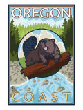Beaver & River, Oregon Coast Posters by  Lantern Press