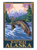 Fly Fishing Scene, Katmai, Alaska Posters by  Lantern Press