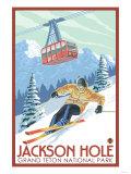 Wyoming Skier and Tram, Jackson Hole Poster van  Lantern Press