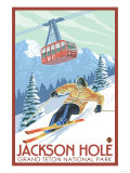 Wyoming Skier and Tram, Jackson Hole Premium Giclee Print by  Lantern Press