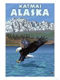 Bald Eagle Diving, Katmai, Alaska Poster by  Lantern Press