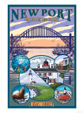 Town Views, Newport, Oregon Poster by  Lantern Press