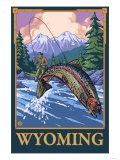 Fly Fishing Scene, Wyoming Poster by  Lantern Press