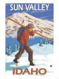 Skier Carrying Snow Skis, Sun Valley, ID Poster