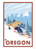 Downhhill Snow Skier, Oregon Poster by  Lantern Press