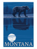 Bear in Moonlight, Montana Poster by  Lantern Press