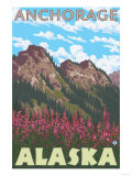 Fireweed & Mountains, Anchorage, Alaska Posters by  Lantern Press