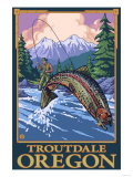 Fly Fishing Scene, Troutdale, Oregon Posters