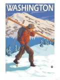 Skier Carrying Snow Skis, Washington Posters