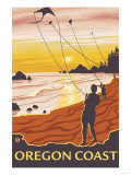Beach & Kites, Oregon Coast Posters by  Lantern Press