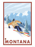 Downhhill Snow Skier, Montana Posters
