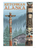 Alaska Totem Poles, Ketchikan, Alaska Art by  Lantern Press