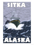 Fishing Boat Scene, Sitka, Alaska Posters