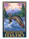 Fly Fishing Scene, Snake River, Idaho Posters by  Lantern Press