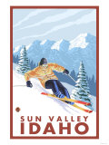 Downhhill Snow Skier, Sun Valley, Idaho Prints