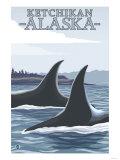 Orca Whales No.1, Ketchikan, Alaska Print by  Lantern Press