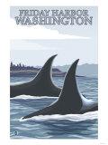 Orca Whales No.1, Friday Harbor, Washington Prints by  Lantern Press
