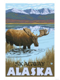 Moose Drinking at Lake, Skagway, Alaska Print by  Lantern Press