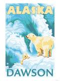 Polar Bears & Cub, Dawson, Alaska Poster by  Lantern Press