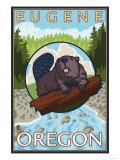 Beaver & River, Eugene, Oregon Poster af Lantern Press