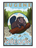 Beaver & River, Eugene, Oregon Poster by  Lantern Press