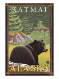 Black Bear in Forest, Katmai, Alaska Poster by  Lantern Press
