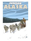 Dog Sledding Scene, Juneau, Alaska Poster by  Lantern Press