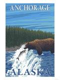 Bear Fishing in River, Anchorage, Alaska Poster by  Lantern Press