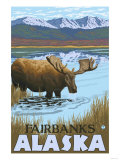 Moose Drinking at Lake, Fairbanks, Alaska Poster by  Lantern Press