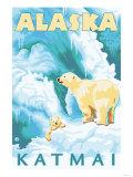 Polar Bears & Cub, Latouche, Alaska Print by  Lantern Press