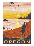 Beach & Kites, Lincoln City, Oregon Print by  Lantern Press
