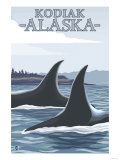 Orca Whales No.1, Kodiak, Alaska Print by  Lantern Press