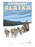 Dog Sledding Scene, Fairbanks, Alaska Print by  Lantern Press