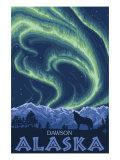 Northern Lights, Dawson, Alaska Print by  Lantern Press
