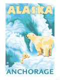 Polar Bears & Cub, Anchorage, Alaska Poster by  Lantern Press