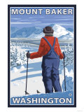 Skier Admiring, Mount Baker, Washington Poster by  Lantern Press