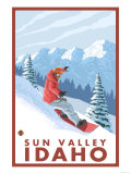 Snowboarder Scene, Sun Valley, Idaho Poster by  Lantern Press