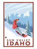 Snowboarder Scene, Sun Valley, Idaho Poster