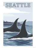 Orca Whales No.1, Seattle, Washington Poster by  Lantern Press