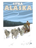 Dog Sledding Scene, Sitka, Alaska Poster by  Lantern Press