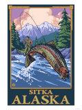 Fly Fishing Scene, Sitka, Alaska Poster by  Lantern Press