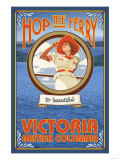 Woman Riding Ferry, Victoria, BC Canada Posters