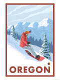 Snowboarder Scene, Oregon Poster by  Lantern Press