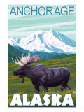 Moose Scene, Anchorage, Alaska Posters