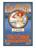 Woman Riding Ferry, Tacoma, Washington Posters by  Lantern Press