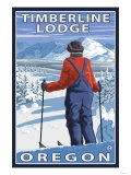 Skier Admiring, Timberline Lodge, Oregon Posters