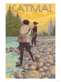 Women Fly Fishing, Katmai, Alaska Posters by  Lantern Press